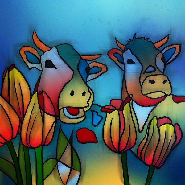 Koeien met tulpen.