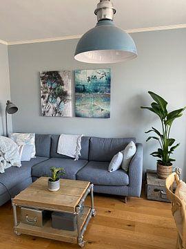 Kundenfoto: Botanische Pflanzen und Insekten drucken Grün Blau von Angela Peters
