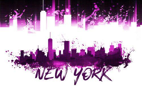 Grafische Kunst NYC Skyline Splashes | rosa