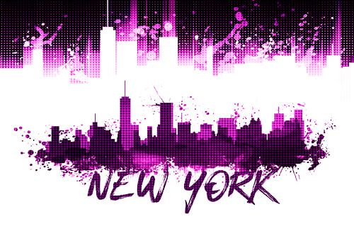 Grafische Kunst NYC Skyline Splashes | rosa van Melanie Viola