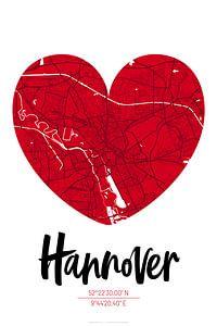 Hannover – City Map Design Stadtplan Karte (Herz)