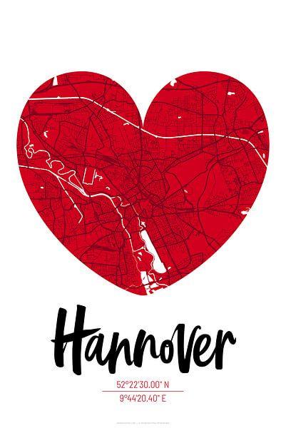 Hannover – City Map Design Stadtplan Karte (Herz) von ViaMapia