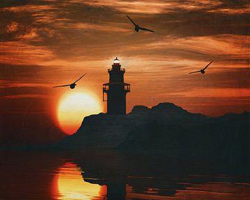 Vuurtoren met een zonsondergang en een meeuw