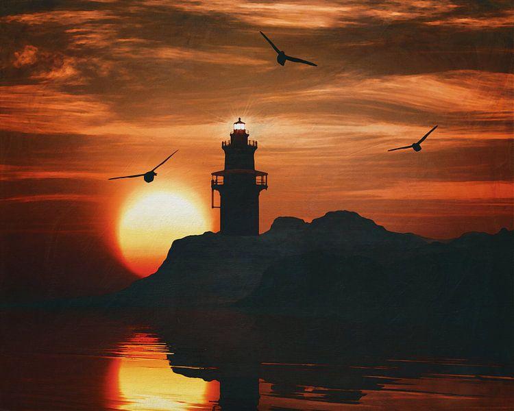 Vuurtoren met een zonsondergang en een meeuw van Jan Keteleer