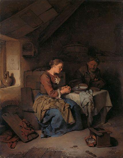 Het gebed voor de maaltijd, Cornelis Pietersz. Bega van Meesterlijcke Meesters