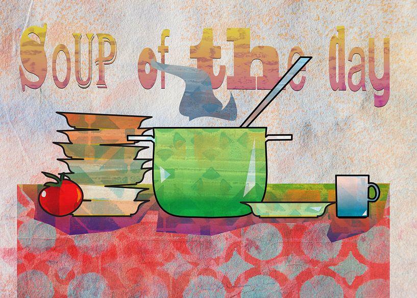 Nature morte d'objets de cuisine avec casserole à soupe sur Ariadna de Raadt-Goldberg