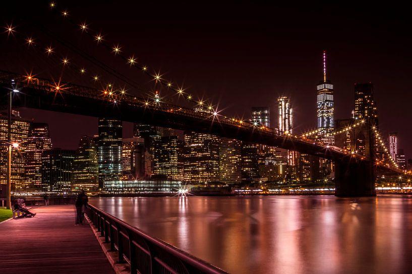 MANHATTAN & BROOKLYN BRIDGE zonsondergang van Melanie Viola