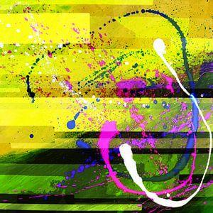 Modernes, abstraktes digitales Kunstwerk in Gelb-Rosa von Art By Dominic