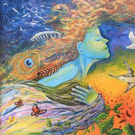 Fliegen in der Luft mit Tieren. Fantasievolle Malerei. von Bobsphotography