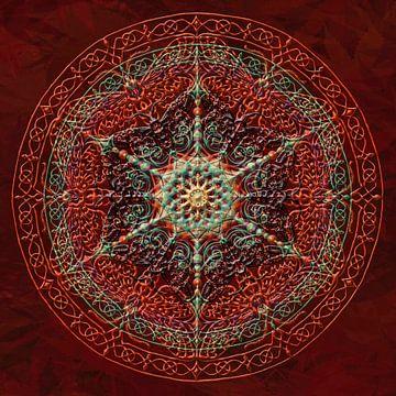 Mandala, rouge et épaissie, lignes soulevé sur Rietje Bulthuis