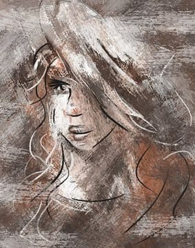 Abstraktes Porträt junge Frau von Emiel de Lange