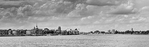 Zicht op Dordrecht zwart wit van