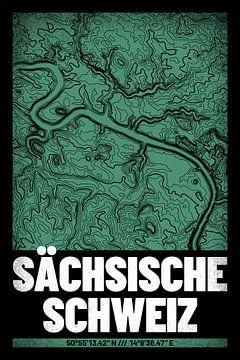 Saksisch Zwitserland | Kaart Topografie (Grunge) van ViaMapia