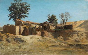 Carlos de Haes-Landhaus Landschaft, schmutziges Haus, Antike Landschaft