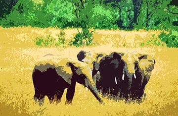 Olifanten in Kenia van Ronald Jansen