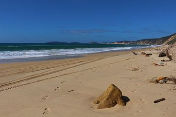 Sporen op Rainbow Beach, Australië van Ines Porada