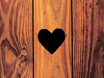 Houtbaar....(Hout in bruin met hart) van Caroline Lichthart