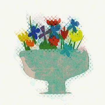 Topf mit Blumen und Pflanzen von Joost Hogervorst