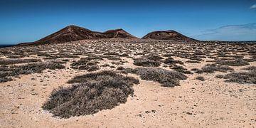 Landschap La Graciosa met El Mojon en de Aguja Grande van