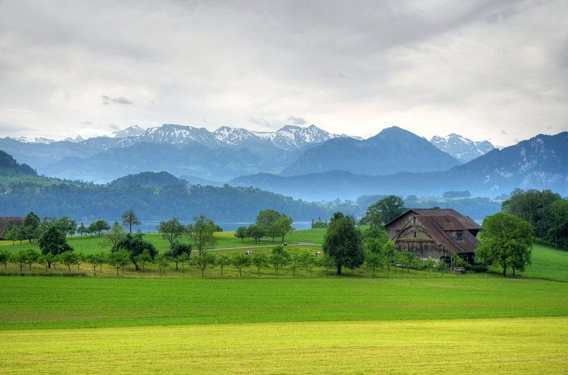 Zwitsers landschap bij Luzern van Hans Kool