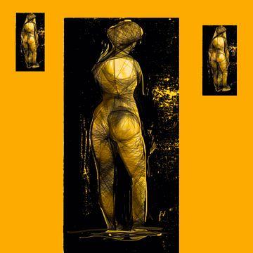 Naakt  vrouw Zwart geel van Raina Versluis