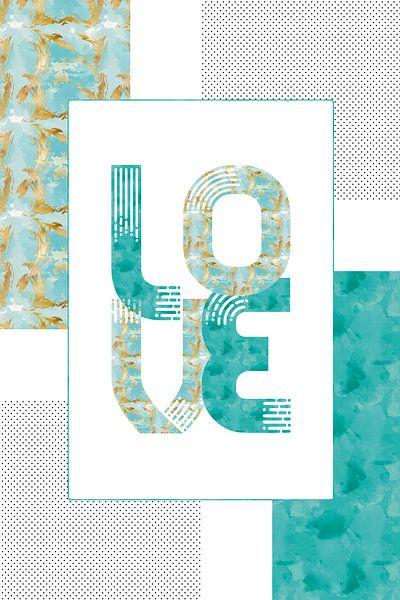 Grafische Kunst Gold LIEFDE | turquoise van Melanie Viola