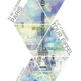Paris EIFFELTURM KOORDINATEN | Aquarell Stil von Melanie Viola