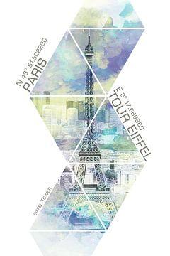 Parijs EIFFELTURM KOORDINATEN | Aquarelstijl van Melanie Viola