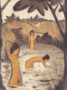 Drei badende im Teich, Otto Mueller - ca1912