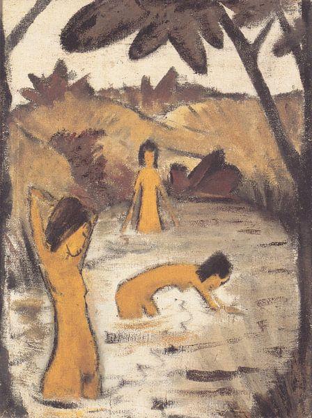 Drie zwemmers in de vijver, Otto Mueller - ca1912 van Atelier Liesjes