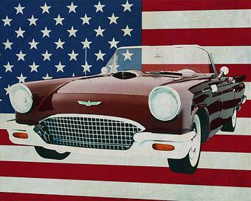 Ford Thunderbird Convertible 1957 met vlag van de V.S.