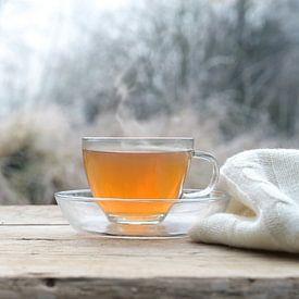 Heißer Tee auf einem rustikalen Holztisch im Freien an einem kalten Wintermorgen, Kopierraum, gewähl von Maren Winter