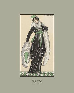 Faux | Vintage Art Deco Mode prent | Historische advertentie van NOONY