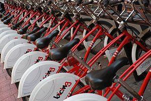 Overal te huur in Barcelona: mooie rode fietsen. van