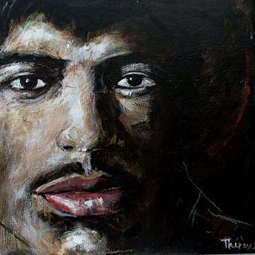 Porträt von Jimi Hendrix. von Therese Brals