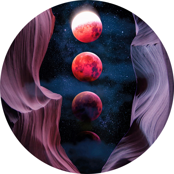 Grand Canyon with Space & Bloody Moon - Collage V van Art Design Works
