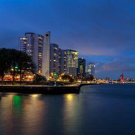Nachtfoto van De Boompjes en de Willemsbrug in Rotterdam van Paul Kampman