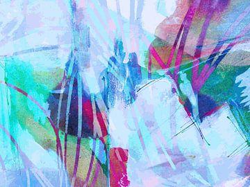 Modern, Abstract Digitaal Kunstwerk in Lichtblauw, Rood, Groen, Roze van Art By Dominic