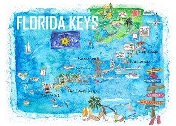 Florida Keys Key West Marathon Key Largo Illustriertes Reiseplakat Favoritenkarte 2. Wegweiser-Editi von Markus Bleichner
