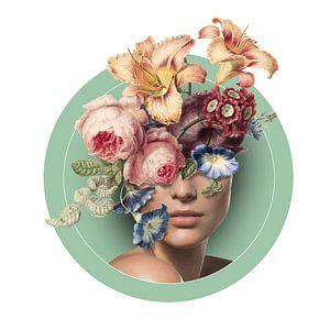 Zelfportret met bloemen (9 kleur) von