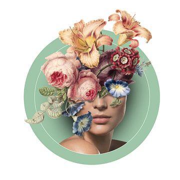 Zelfportret met bloemen (9 kleur) van