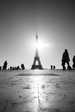 Zwart wit Eiffeltoren von Bas Glaap