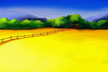 Schilderij van een kleurrijke landschap met een weg door gele velden van Tanja Udelhofen