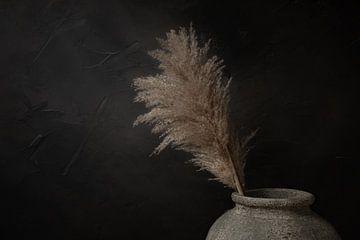 Stilleven met pampas rietpluim in grijze stenen kruik van Mayra Pama-Luiten