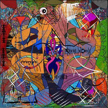 Buntes und modernes Werk aus geometrischen Formen von EL QOCH