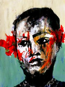 Meisje met rode bloemen van Anita Snik-Broeken
