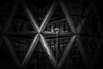 Schwarz-Weiß: Detail der Gurkin - London von Rene Siebring
