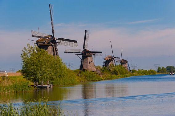 Windmills in a row at Kinderdijk Holland