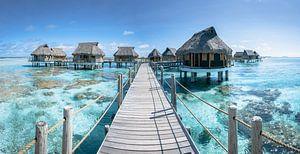 Boven water bungalows in Frans Polynesië van Nick de Jonge - Skeyes