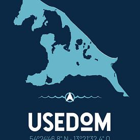Usedom | Design kaart | Silhouet | Minimalistische kaart van ViaMapia